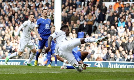 Adebayor converts Tottenham's first goal of the match only thirty-four seconds into the match