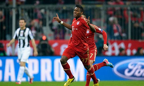 David Alaba wheels away to celebrate Bayern's first goal