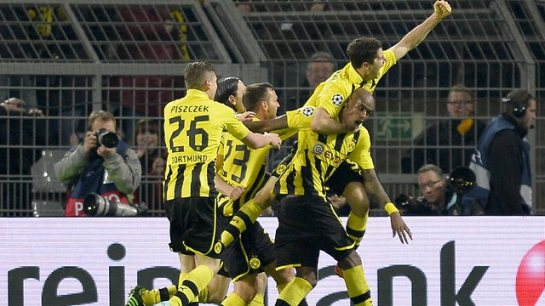 Borussia Dortmund celebrate their incredible 4-1 win over Real Madrid
