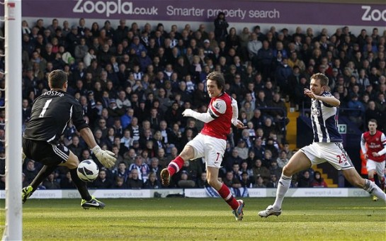 Rosicky scores his second goal of the night