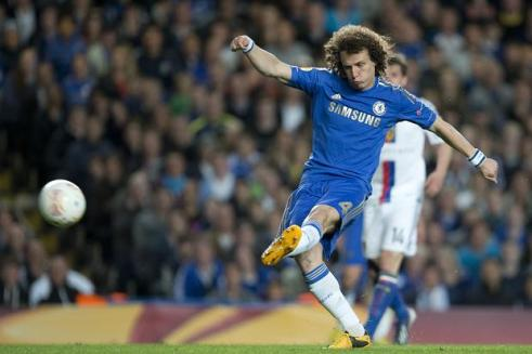 David Luiz curl's his wonder goal into the top corner in the fifty-seventh minute