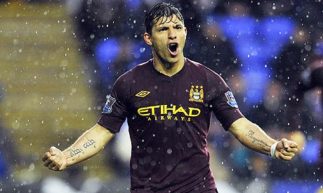 Sergio Aguero celebrates his goal against Reading in Manchester City's 2-0 win